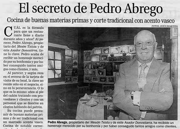 Pedro Ábrego y su menu degustacion donostiarra